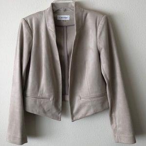 Calvin Klein faux suede open front jacket sz 12